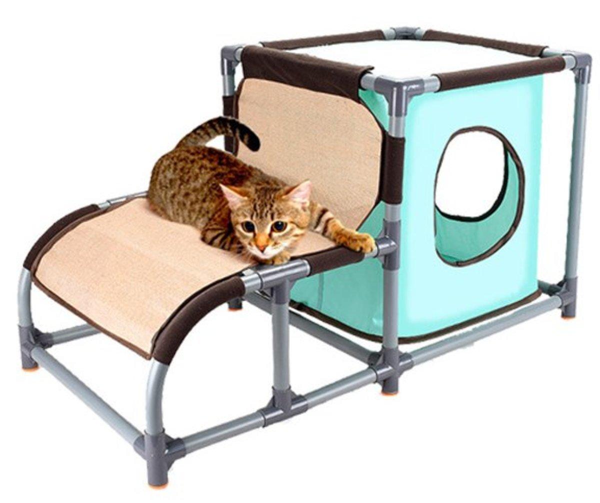3合1劍麻階梯帆布貓窩貓爬架(81*42*44) 可拆卸貓抓板貓跳台