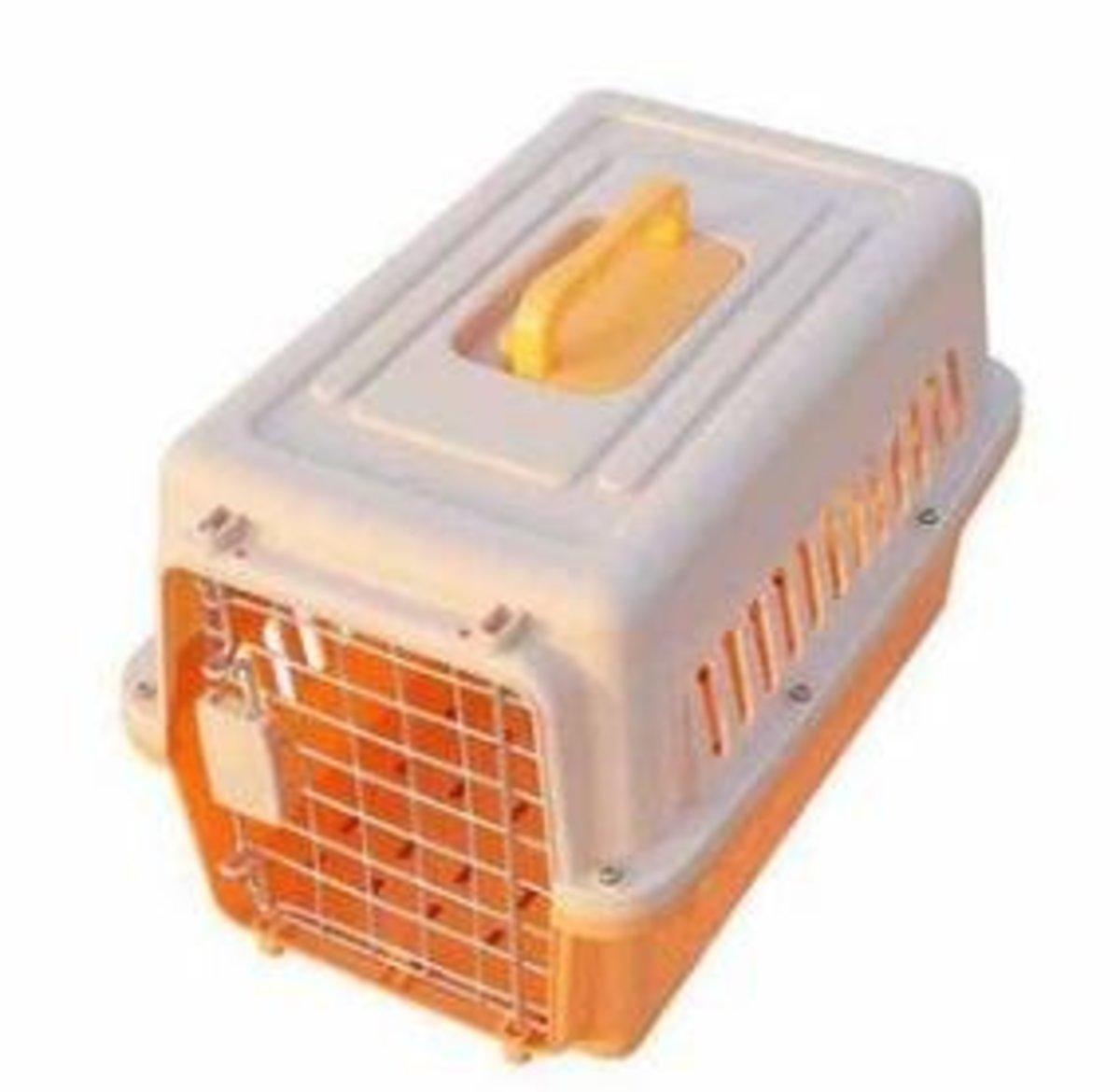 寵物飛機籠(米白+橙色)(48*32*30cm 不帶輪)