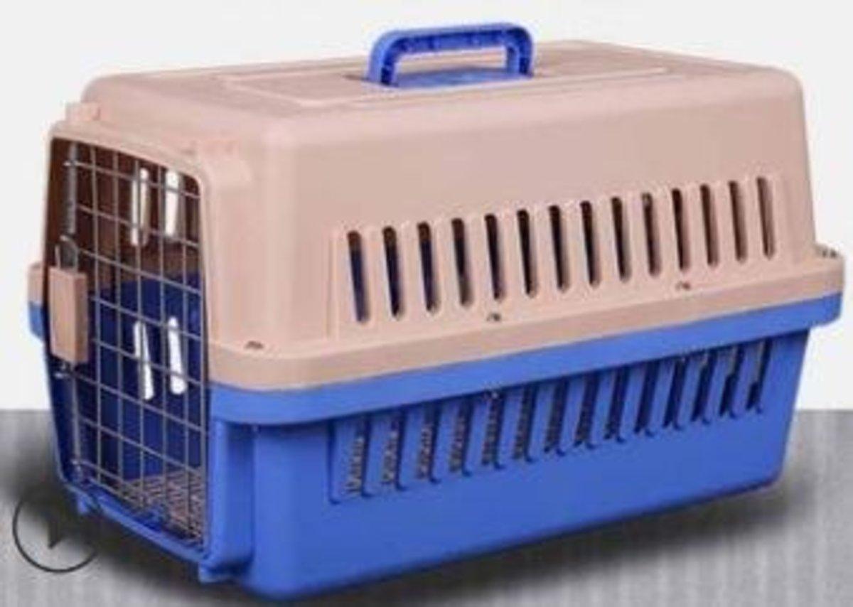 寵物飛機籠(米白+淺藍色)(48*32*30cm不帶輪)
