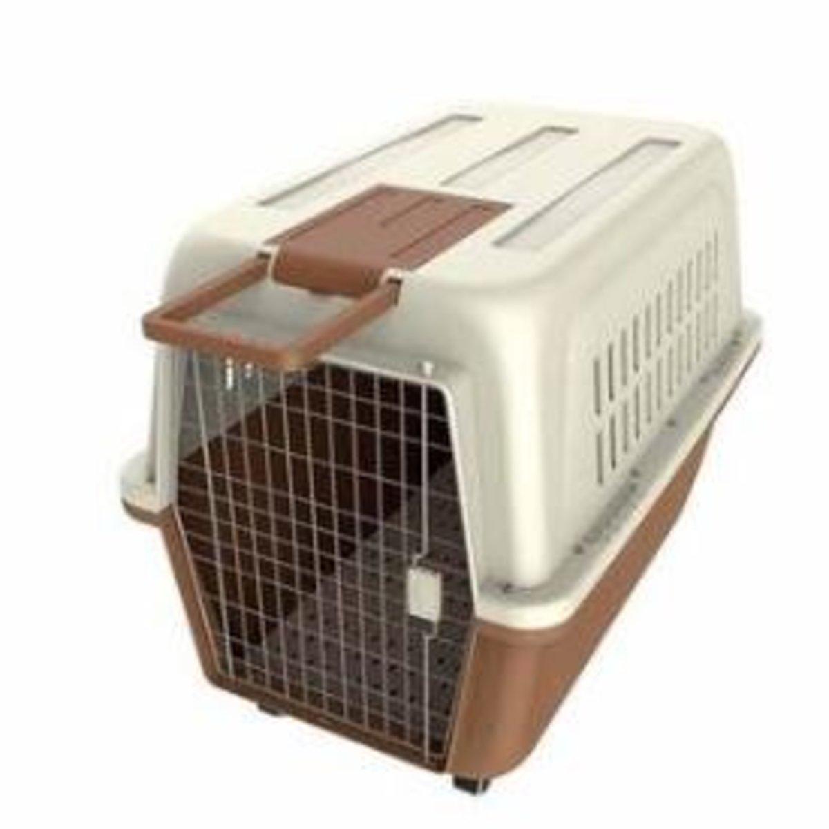 寵物飛機籠(米白+咖啡色)(81*57*60cm)