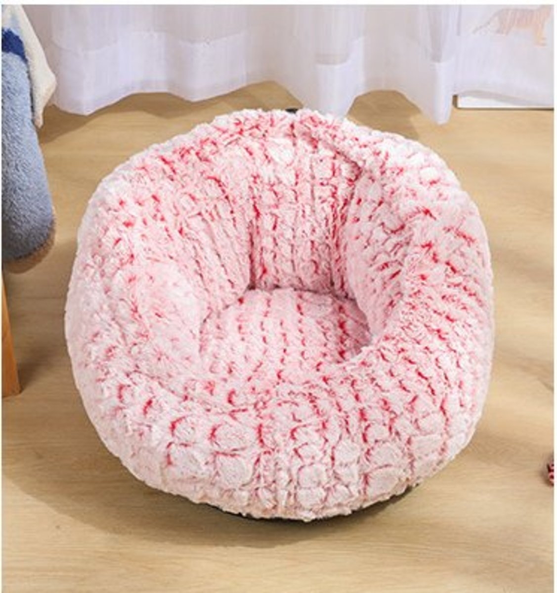 創意加絨寵物窩床(可調節款 紅色)XL-60*60*35cm