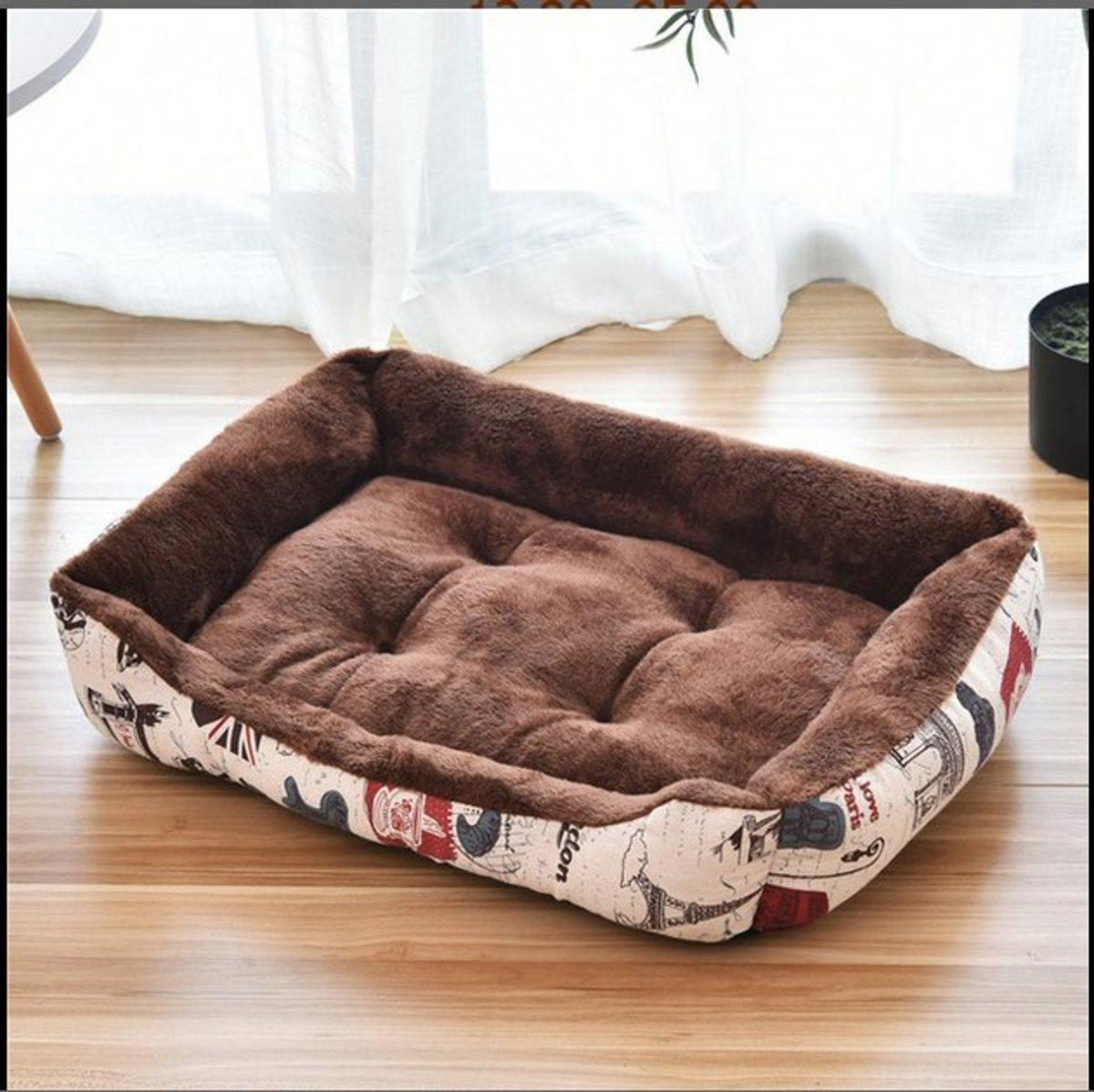 北極絨保暖寵物床狗床貓窩(咖啡色)L-80*60cm