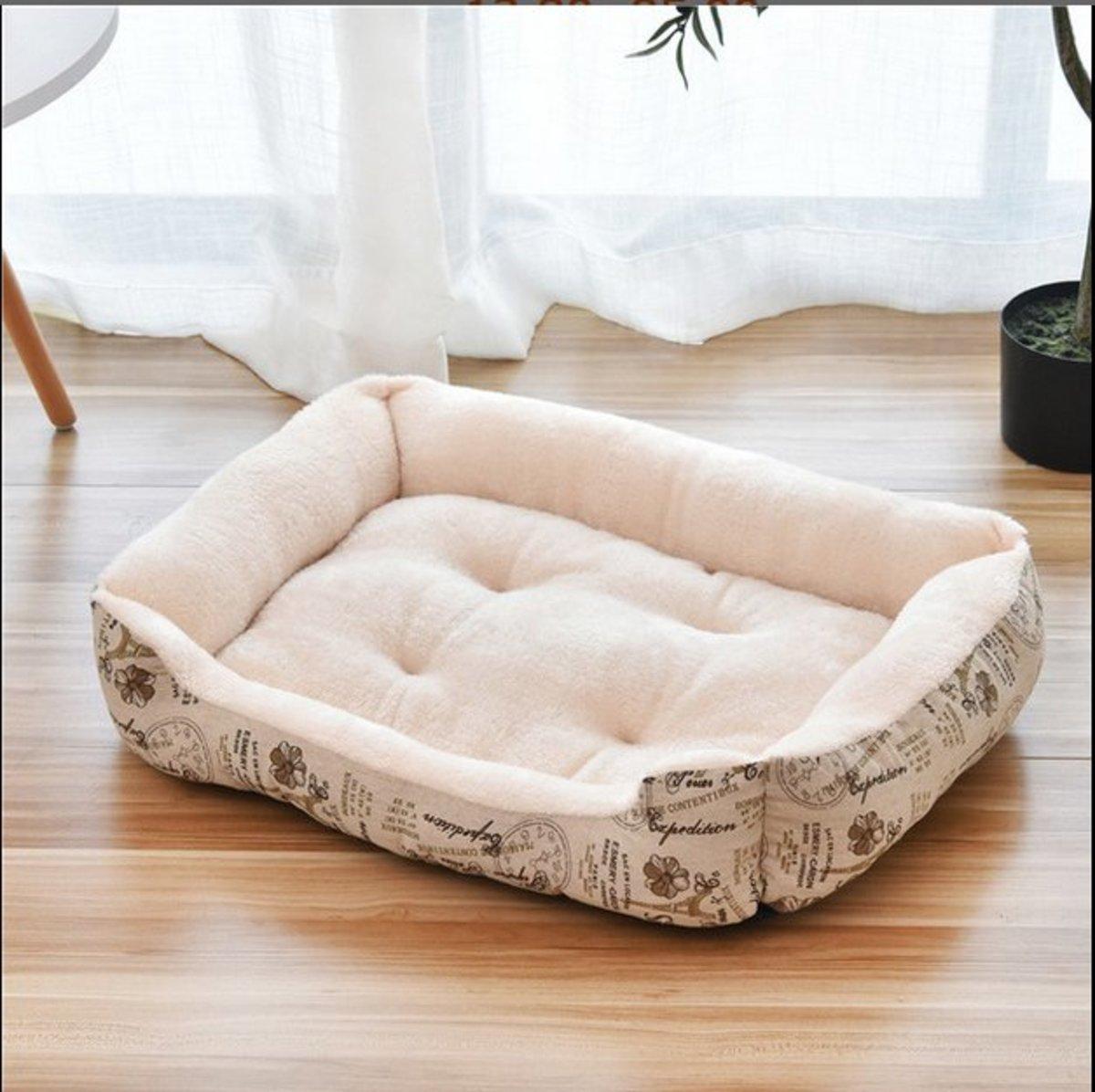 北極絨保暖寵物床狗床貓窩(米色)XXL-110*90cm