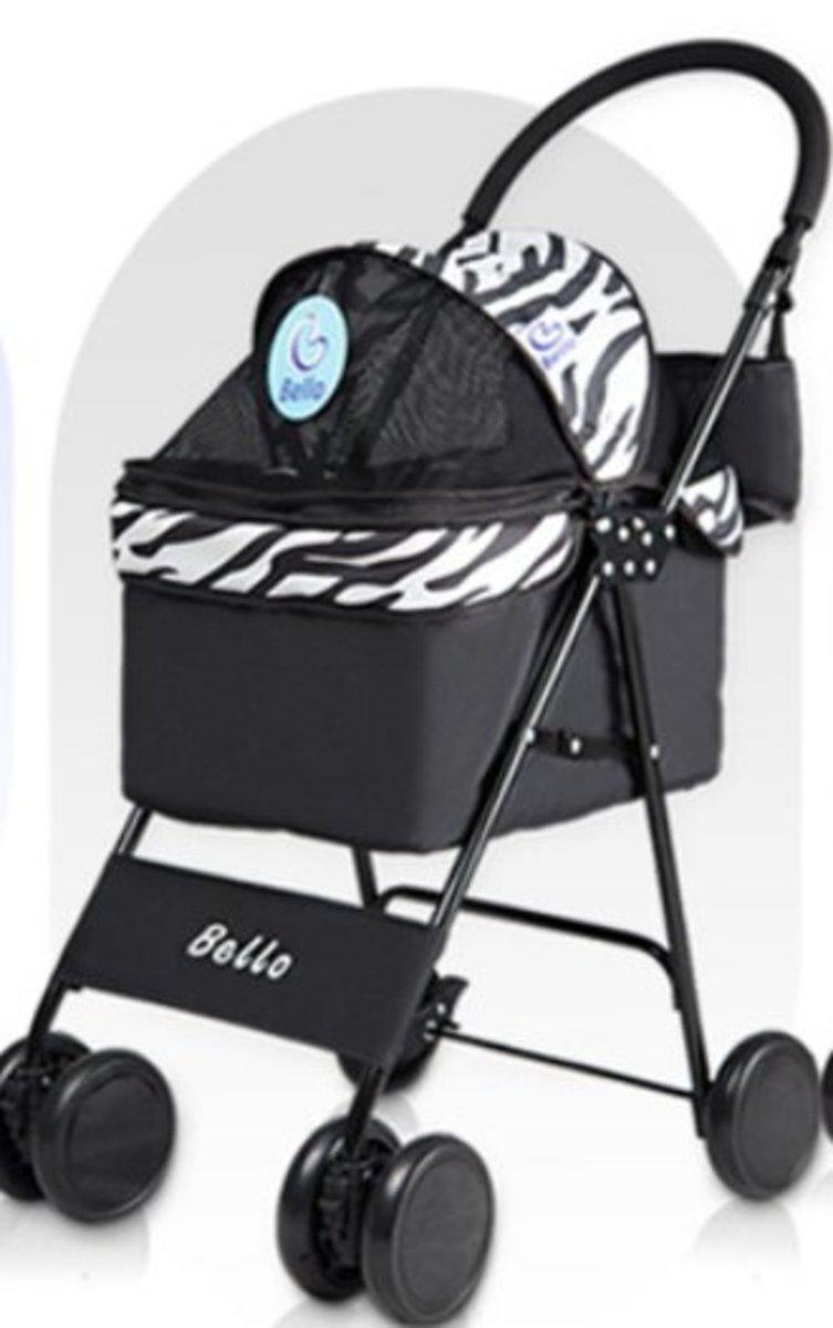 Bello 小型輕巧折疊寵物手推車(斑馬紋)