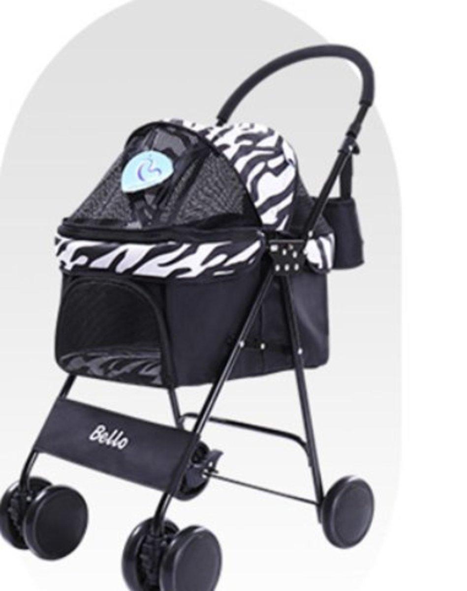 Bello 小型輕巧折疊寵物手推車(透氣款 斑馬紋)