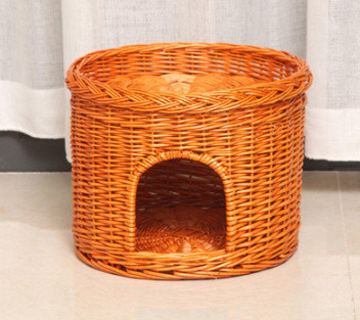 藤編直筒寵物窩貓窩(單層-蜜糖色)(42x32cm)