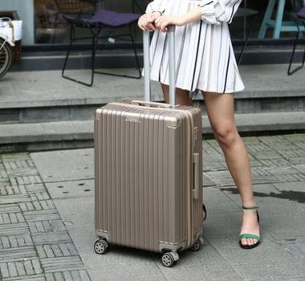 復古行李箱20吋(香檳金)
