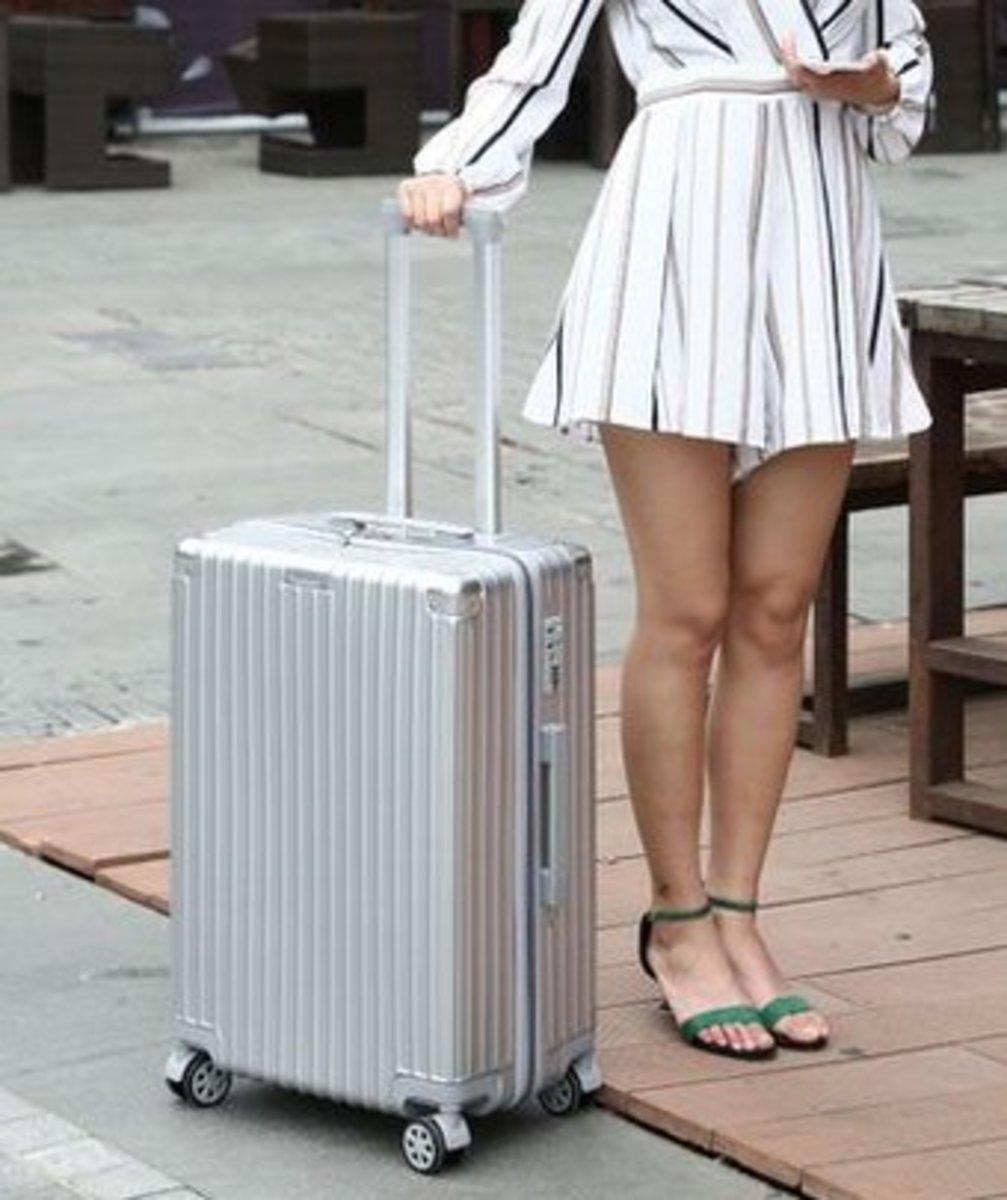 復古行李箱26吋(銀灰色)