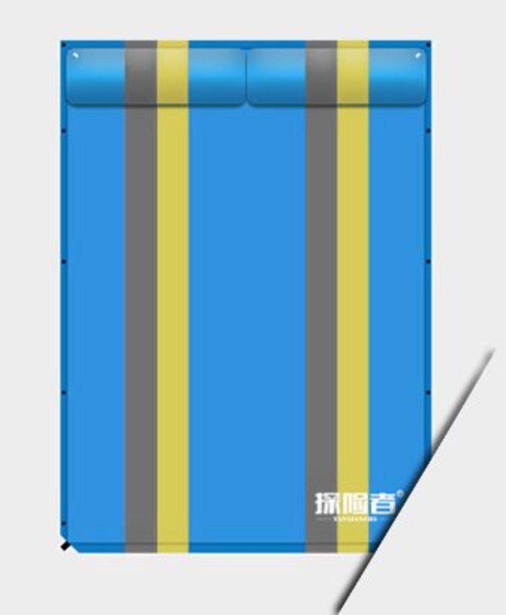 戶外露營可拼接充氣墊(192*130*3cm) 藍條紋-雙人平板款