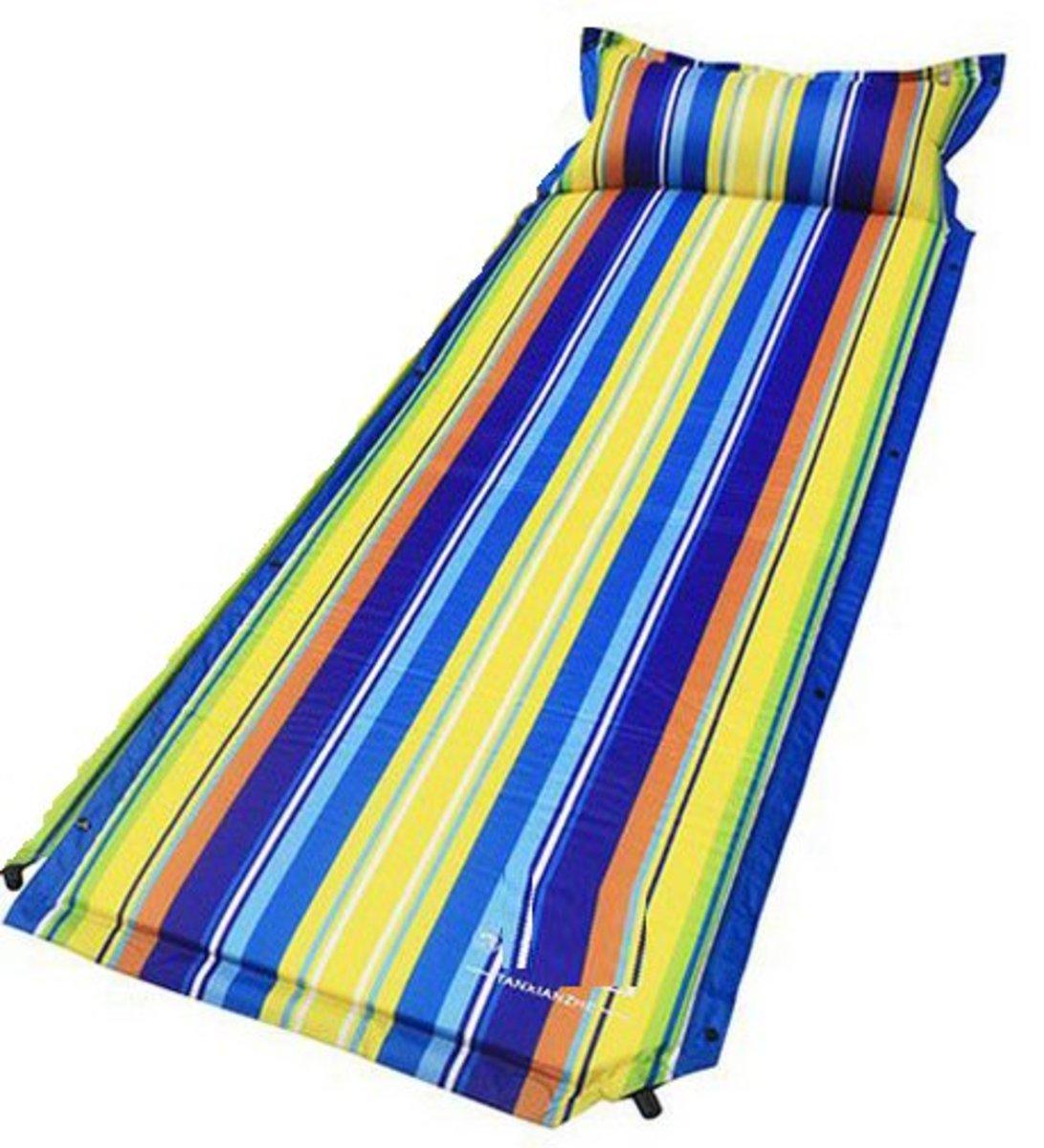 戶外露營可拼接充氣墊(192*65*3cm) 彩條紋-單人平板款