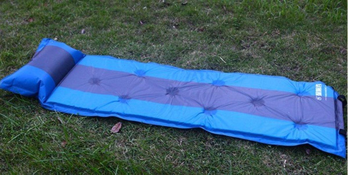 戶外露營可拼接充氣墊(183*58*2.5cm )藍條紋-單人九點款