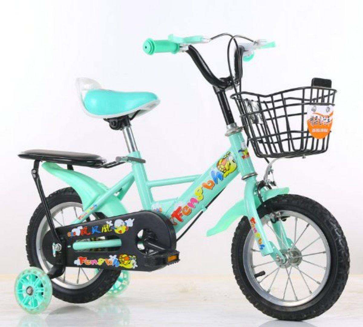 兒童單車腳踏自行車(天藍色14寸)適合3-5歲