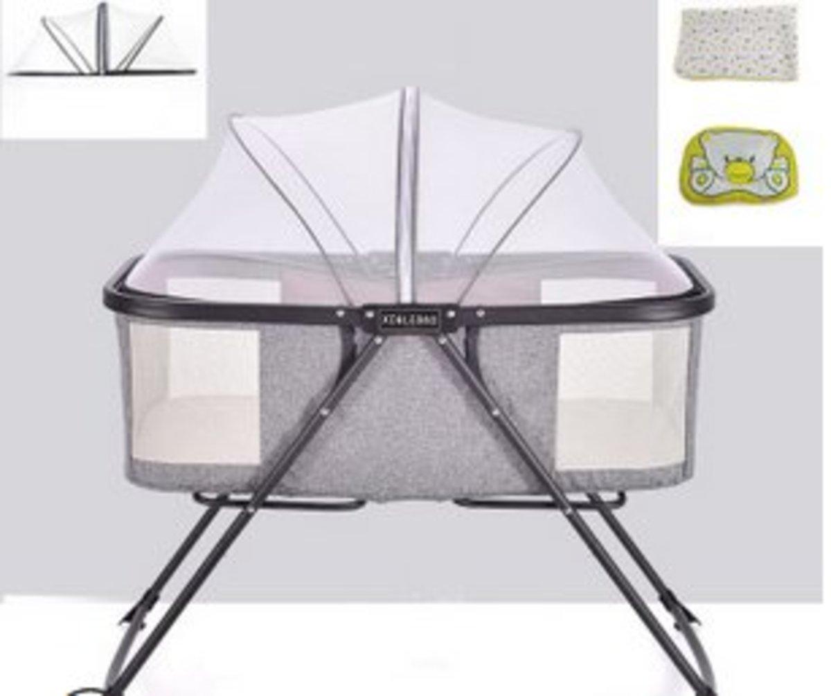 便攜式嬰兒床多功能簡易搖搖床(套裝)(淺灰色+隔尿墊+定型枕)