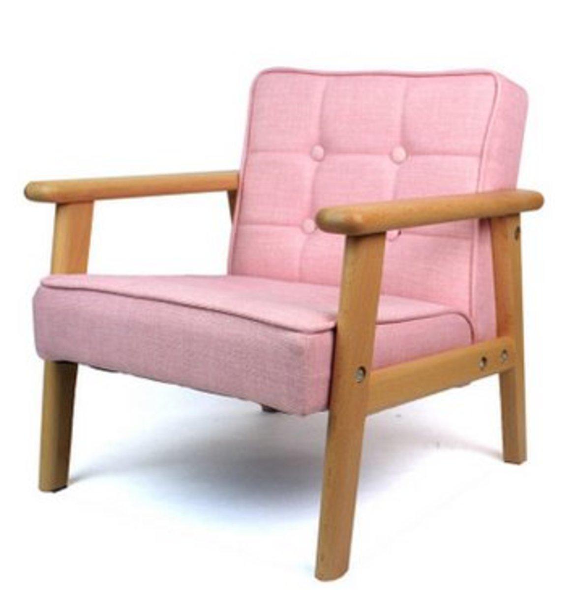 實木PU小沙發凳(粉色單人布藝沙發)