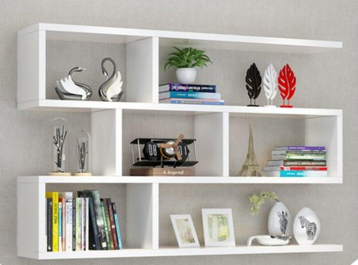 創意牆上簡易書架飾物架(白色25*80*15cm)