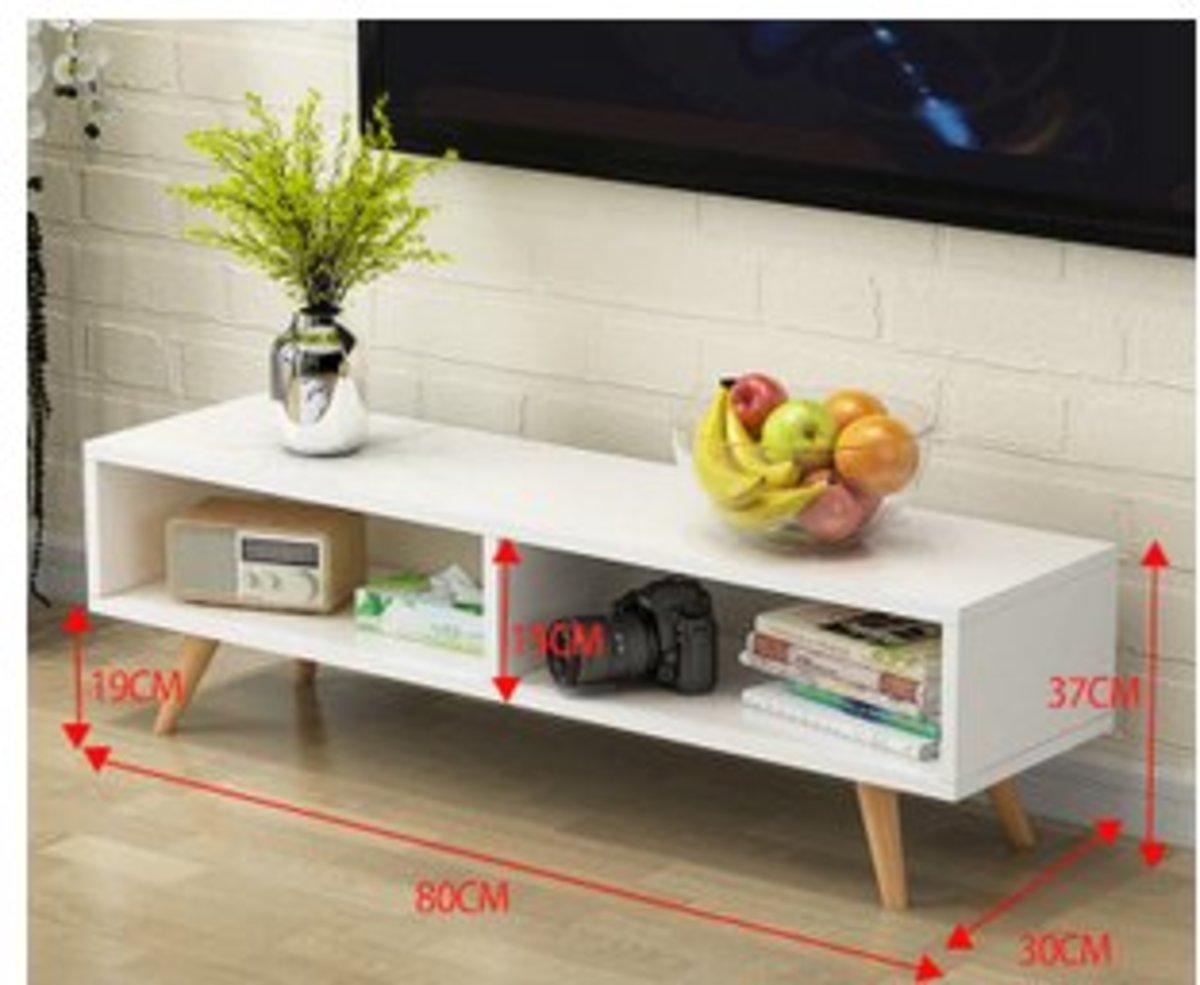 北歐茶几電視櫃簡易儲物櫃(白色兩格80長)