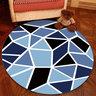 水晶絨圓形地氈地毯簡約北歐款電腦轉椅(灰藍花)100cm