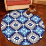 水晶絨圓形地氈地毯簡約北歐款電腦轉椅(綠黃三角)100cm