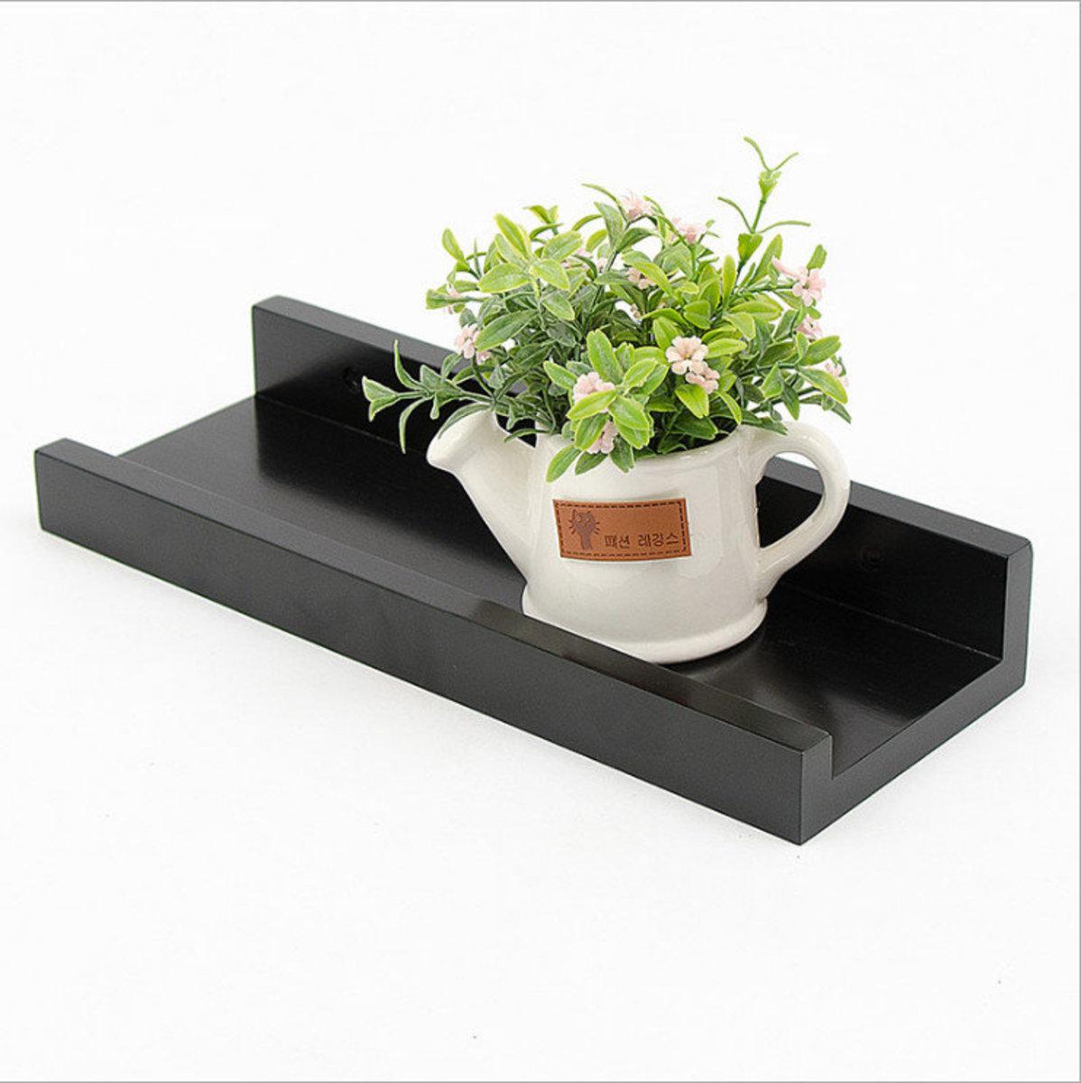一字隔板牆上實木置物架黑色33*12*5cm(小)