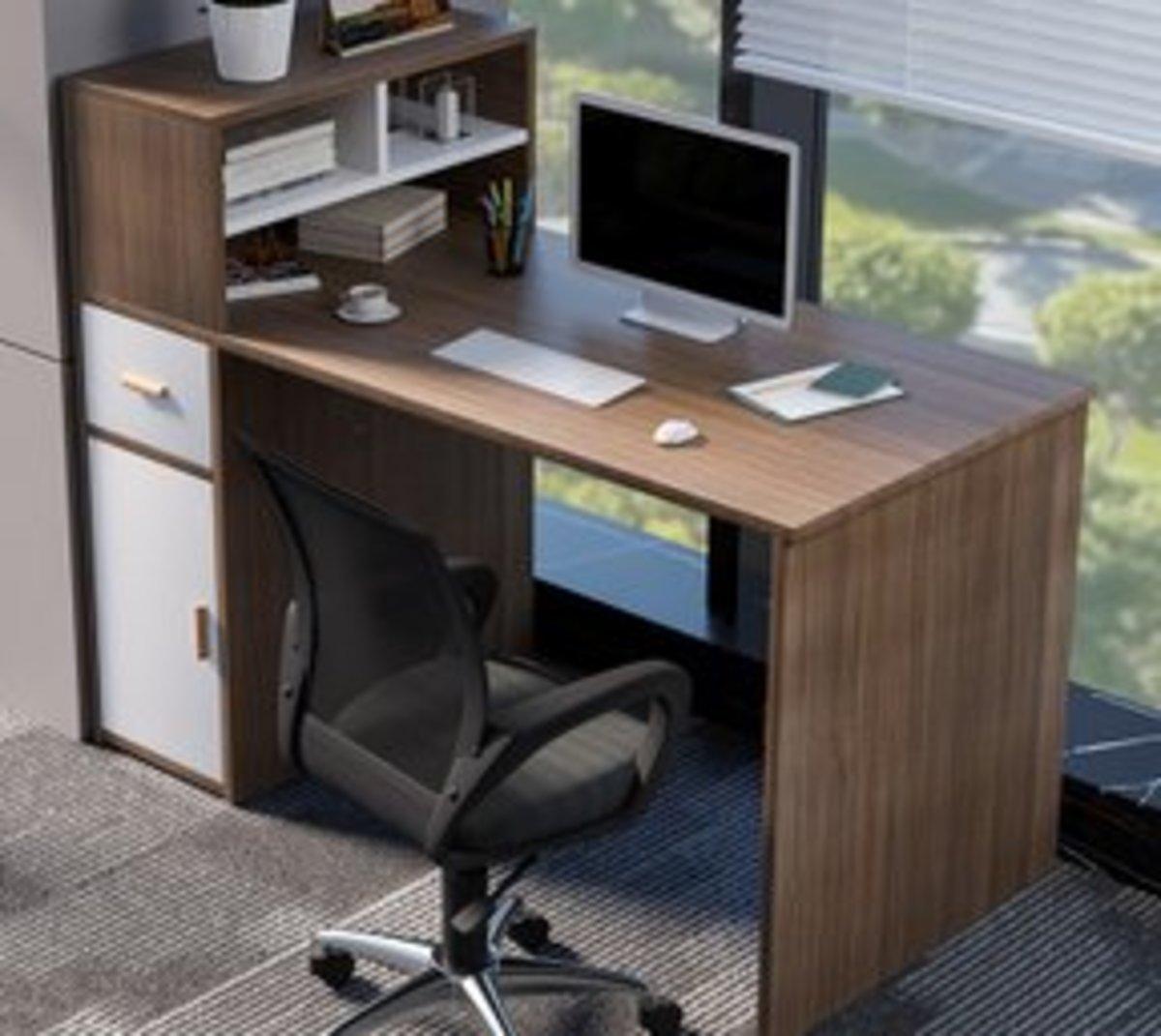 工作屏風隔斷公司辦公桌(拉絲黑橡木帶椅)