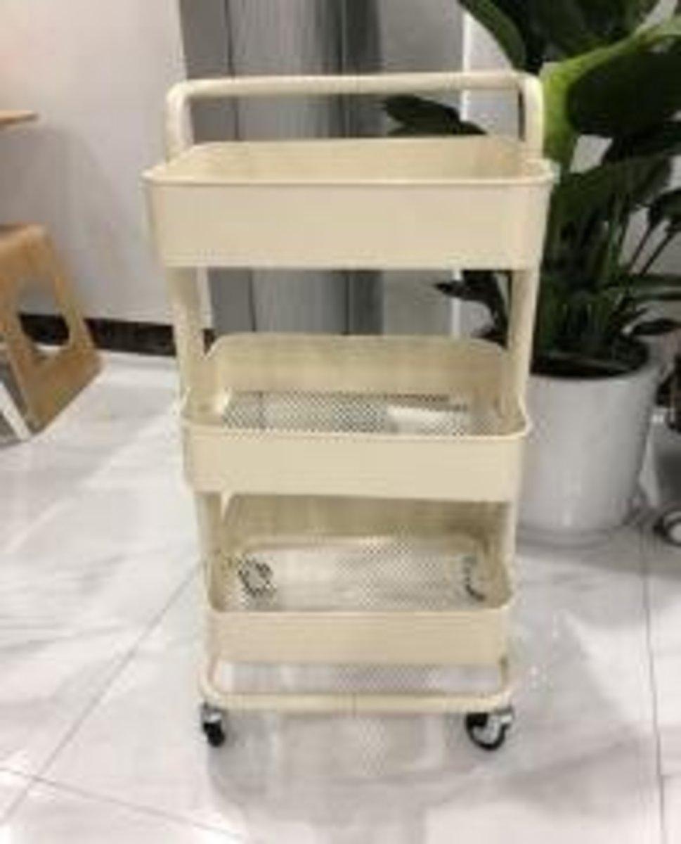 拉斯克廚房小推車餐車置物架收納架(出口版帶把手米黃色)