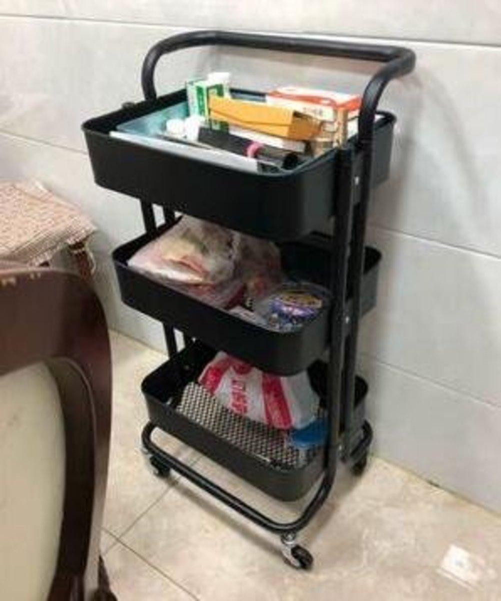 拉斯克廚房小推車餐車置物架收納架(帶刹車輪三層小推車)(黑色)(顏色備註)