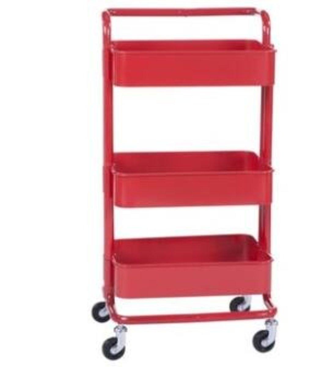 拉斯克廚房小推車餐車置物架收納架(紅色帶把手)