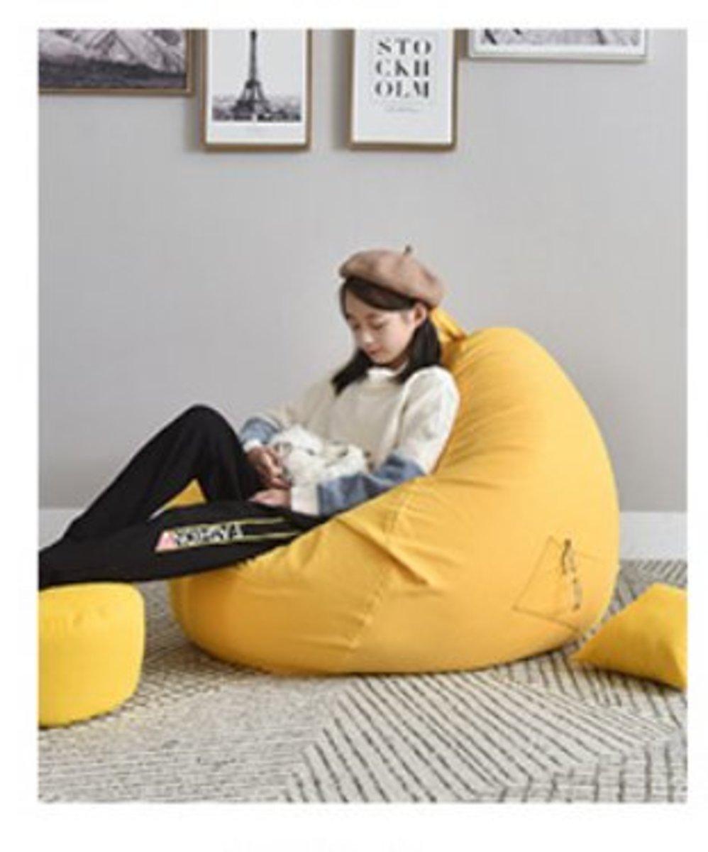 布藝休閒榻榻米小沙發/中號進口epp填充顆粒//明黃色