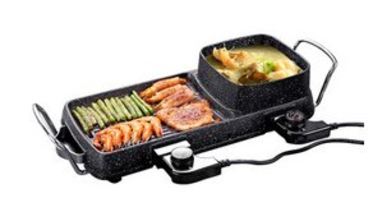 韓式烤鍋,麥飯石塗層,涮烤鴛鴦一體電熱鍋(43*18cm)