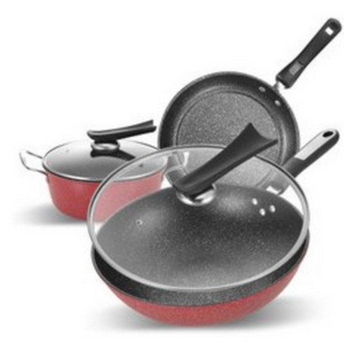 麥飯石三件套(升級版)不粘鍋炒鍋湯鍋煎鍋