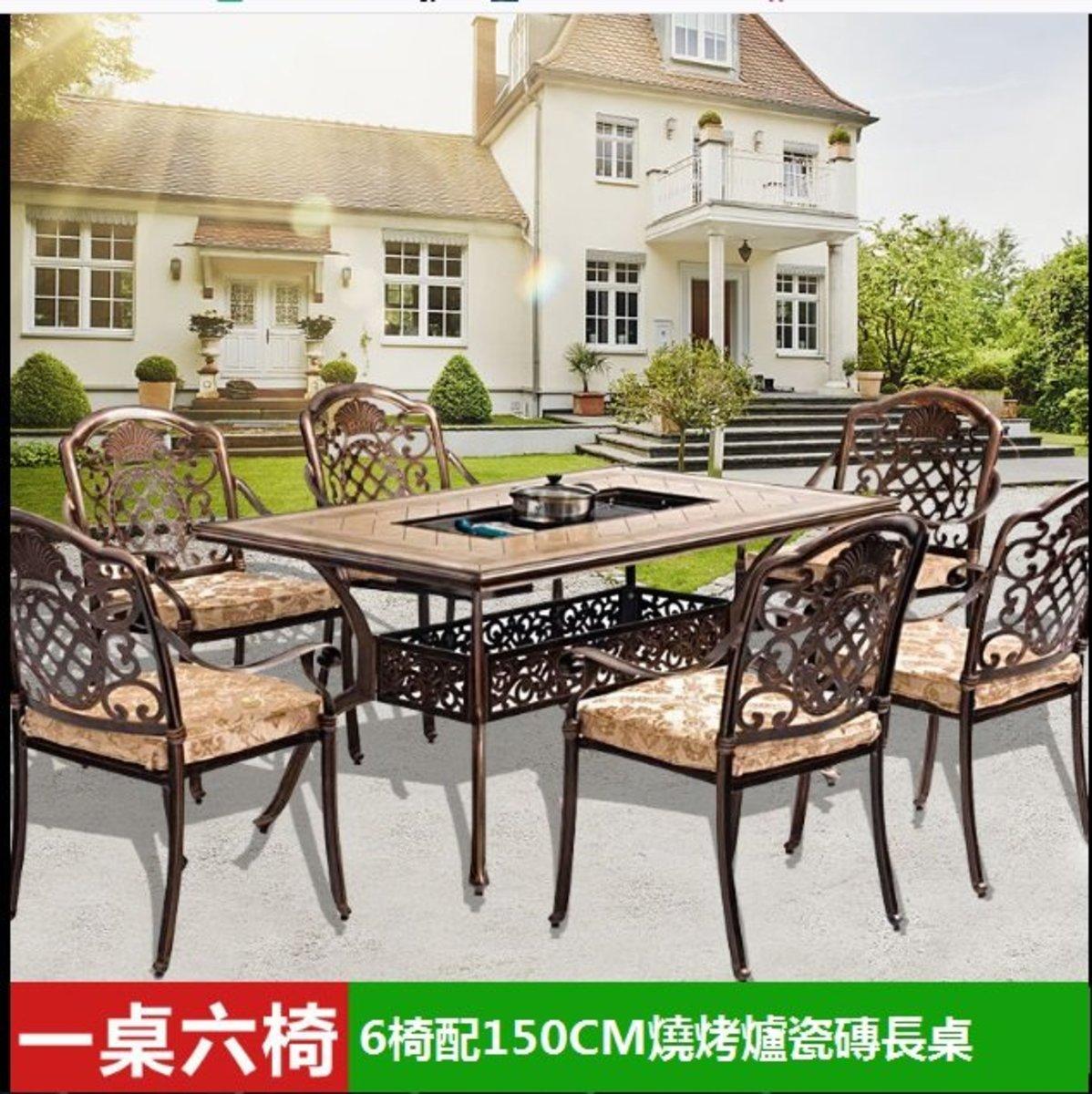 咖啡廳燒烤火鍋長桌(1號:6椅配150CM燒烤爐瓷磚長桌)