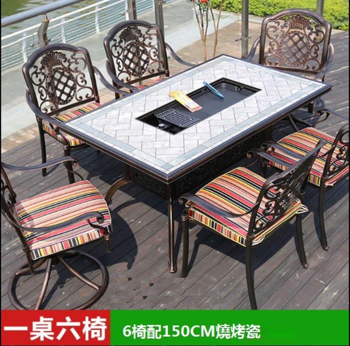 咖啡廳燒烤火鍋長桌(2號:6椅配150CM燒烤瓷磚長桌)