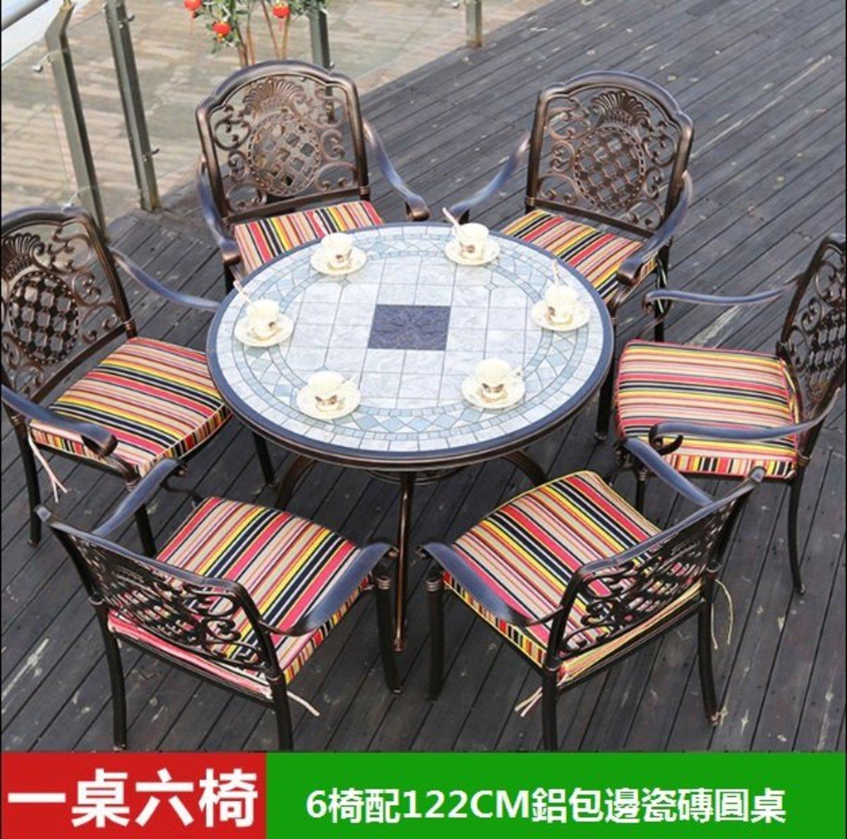 咖啡廳燒烤火鍋長桌(3號:6椅配122CM鋁包邊瓷磚圓桌)