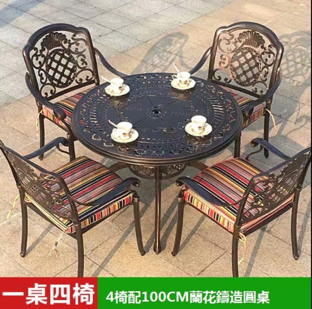 咖啡廳燒烤火鍋長桌(4號:4椅配100CM蘭花鑄造圓桌)