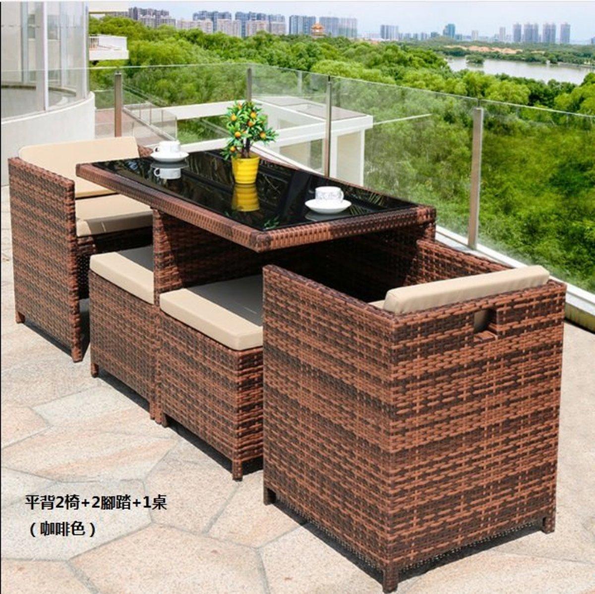 簡約家用收納北歐藤桌椅(平背2椅+2腳踏+1桌(咖啡色))