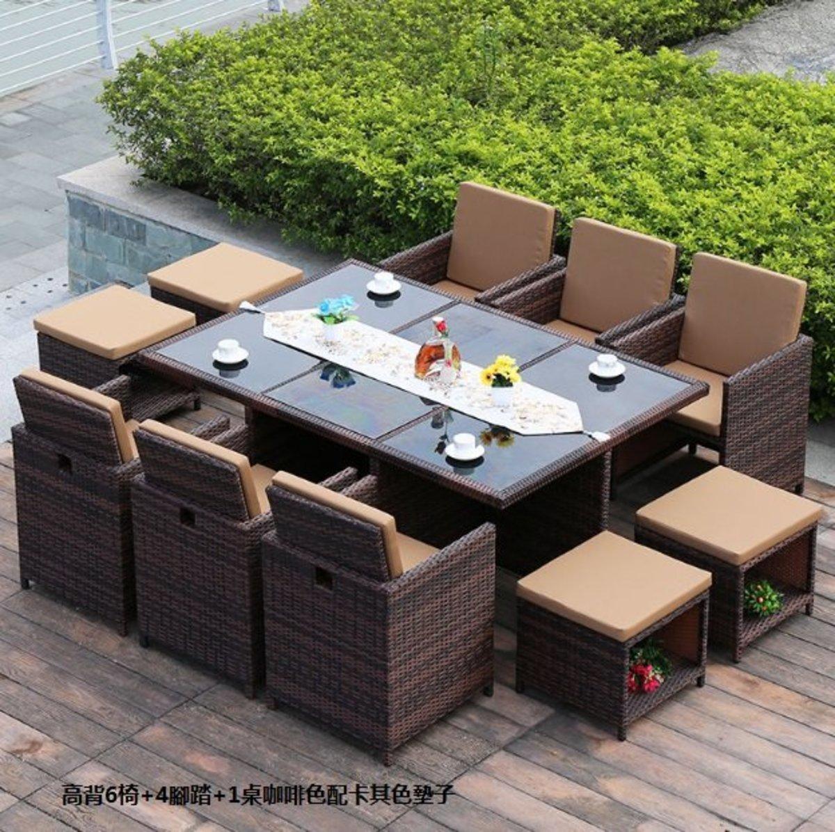 簡約家用收納北歐藤桌椅(高背6椅+4腳踏+1桌咖啡色配卡其色墊子)
