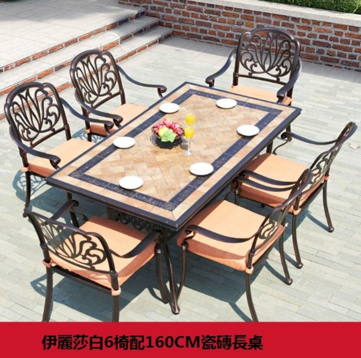 歐式鐵藝防水防曬桌椅(伊麗莎白6椅配160CM瓷磚長桌)