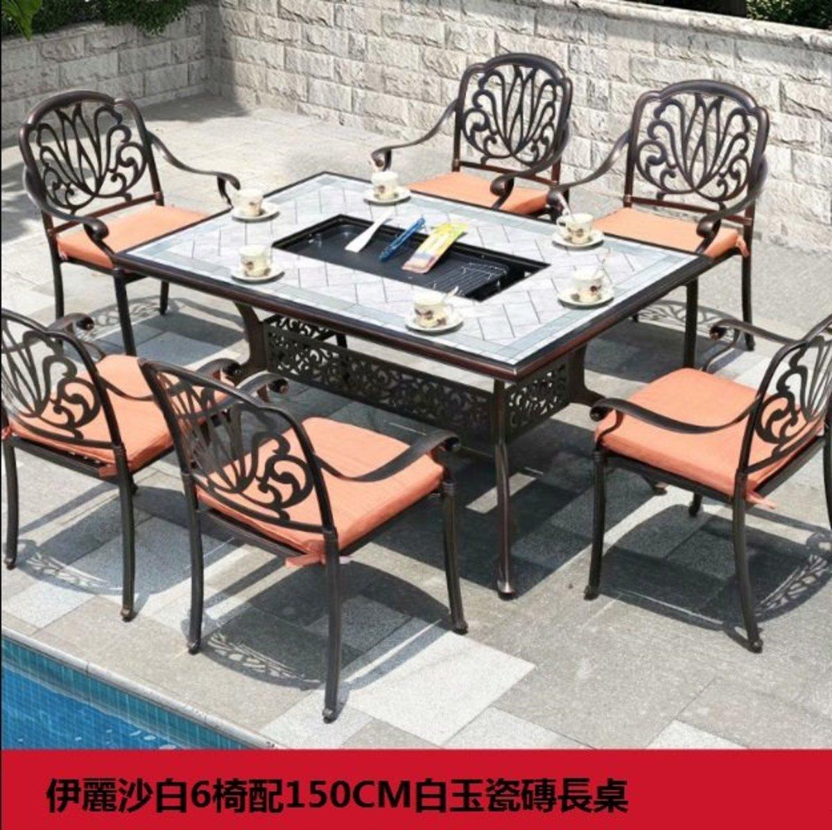 歐式鐵藝防水防曬桌椅(伊麗沙白6椅配150CM白玉瓷磚長桌)