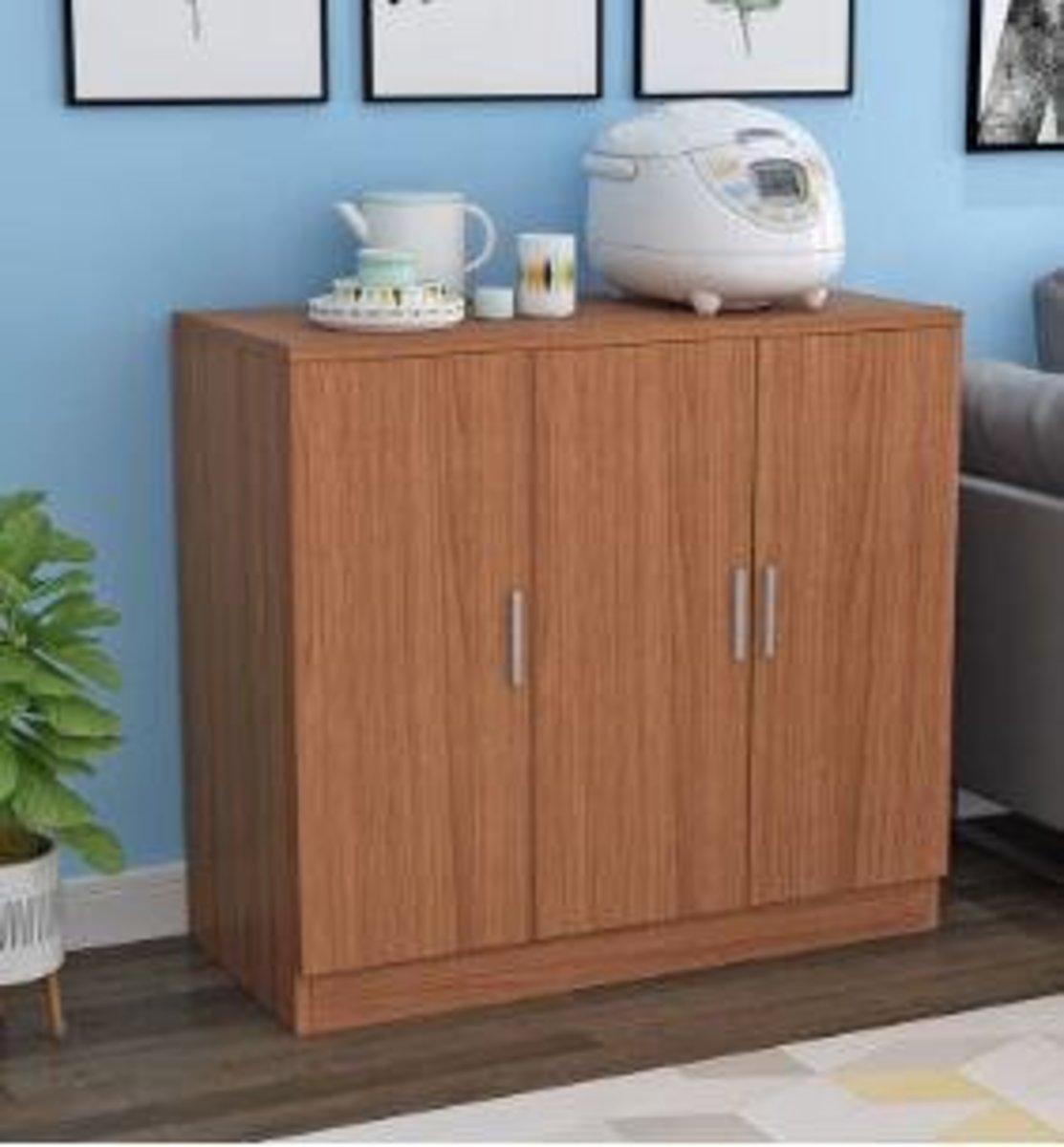 現代簡約收納儲物櫃:棕胡桃色80高100寬40深