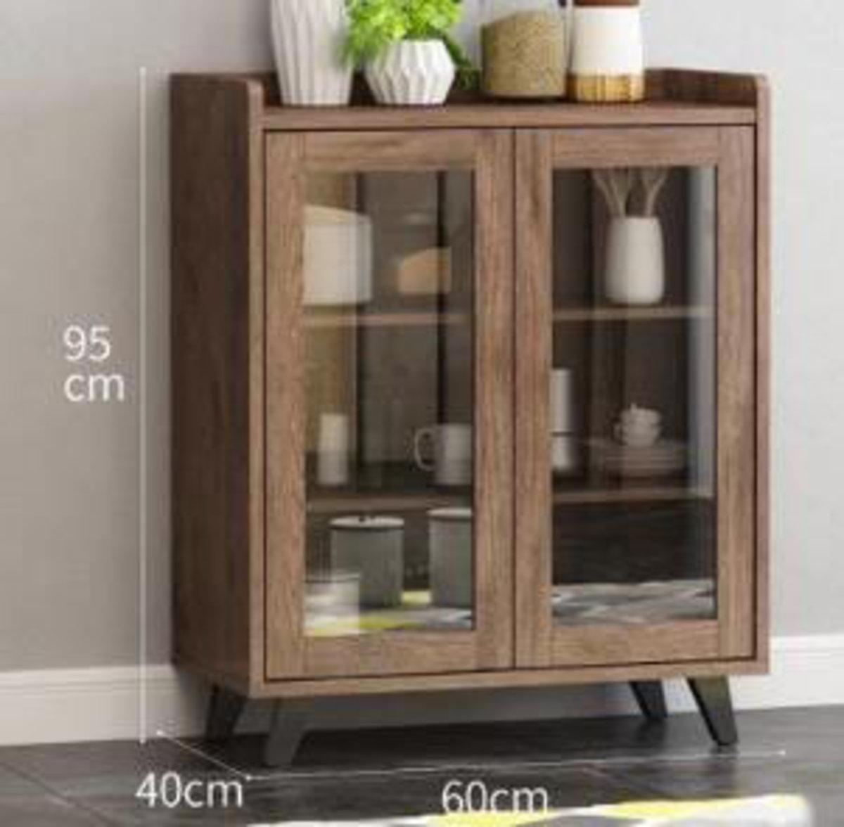 北歐餐邊櫃收納儲物櫃玻璃門:60*40*95兩門