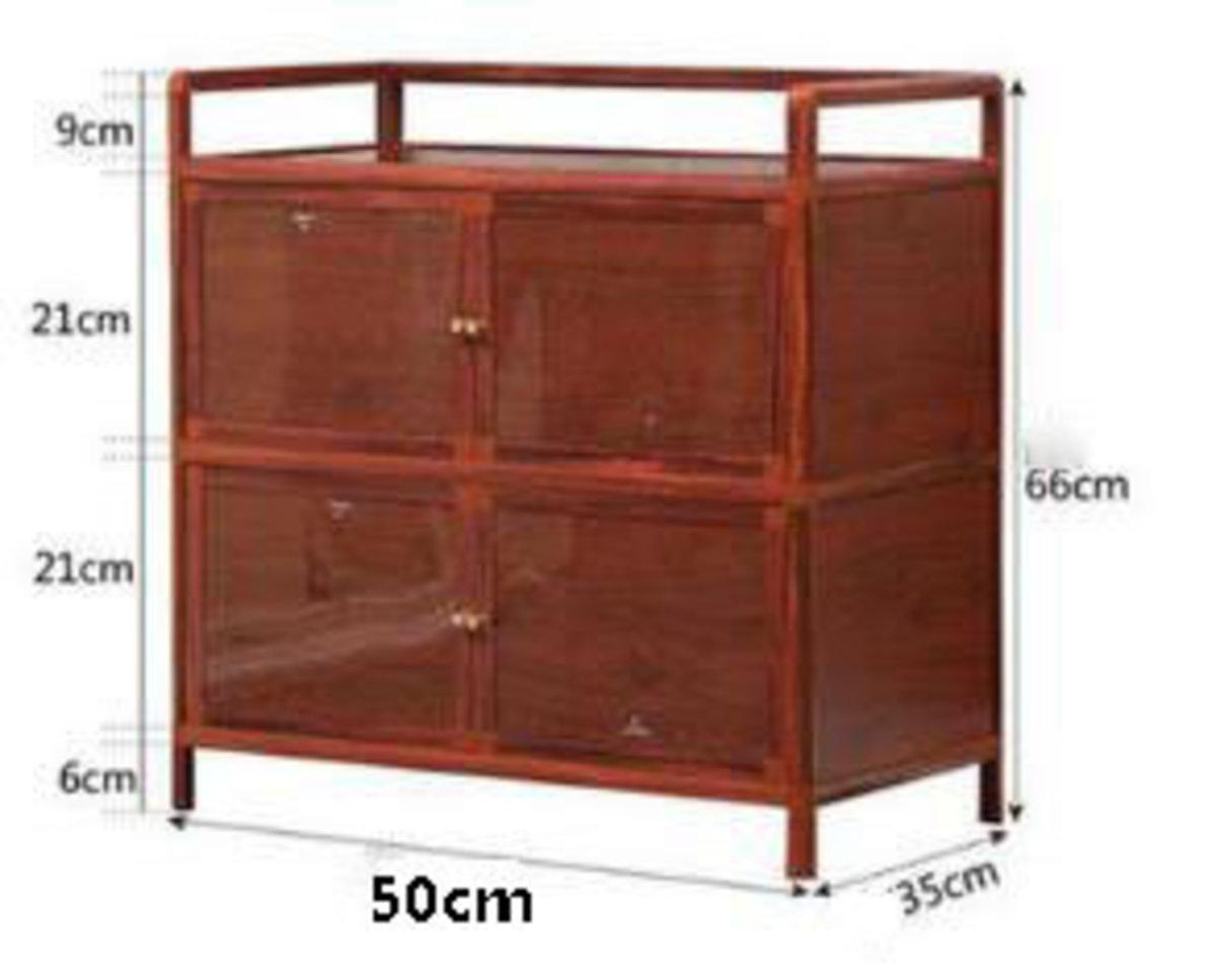 簡易碗櫃鋁合金小櫃子:加厚木紋款2層四門50cm面寬