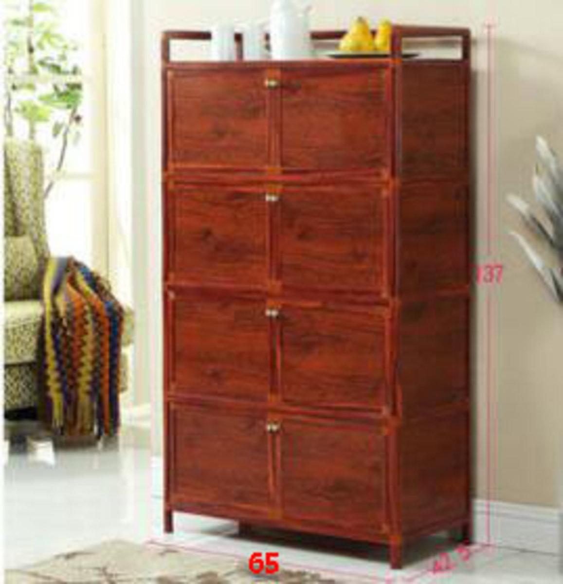 簡易碗櫃鋁合金小櫃子:加厚木紋款4層八門65cm面寬