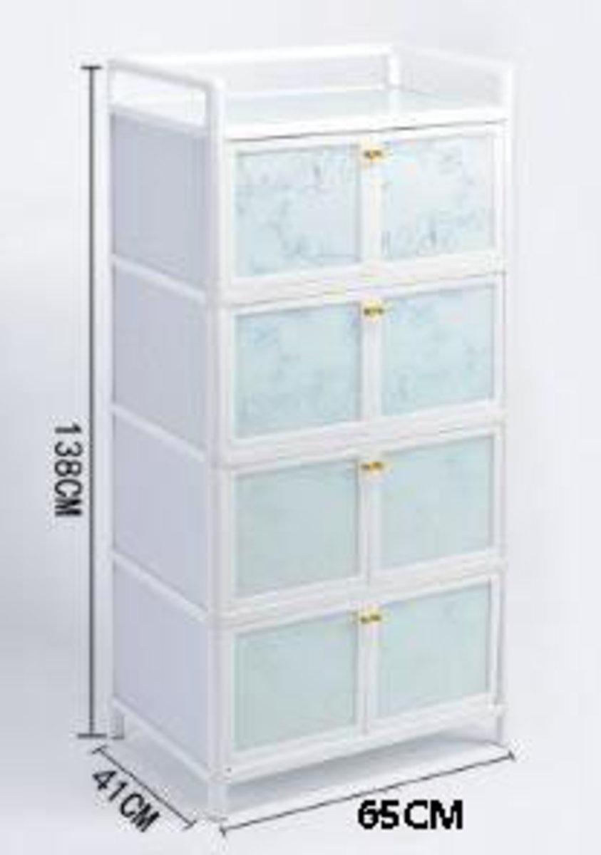 簡易碗櫃鋁合金小櫃子:大管4層八門65cm面寬【閃銀花】