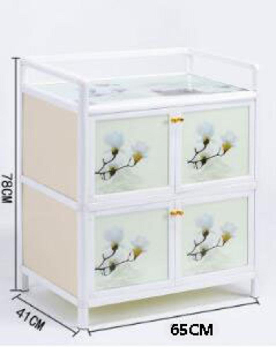 簡易碗櫃鋁合金小櫃子:經濟款2層四門65cm面寬【蘭花】