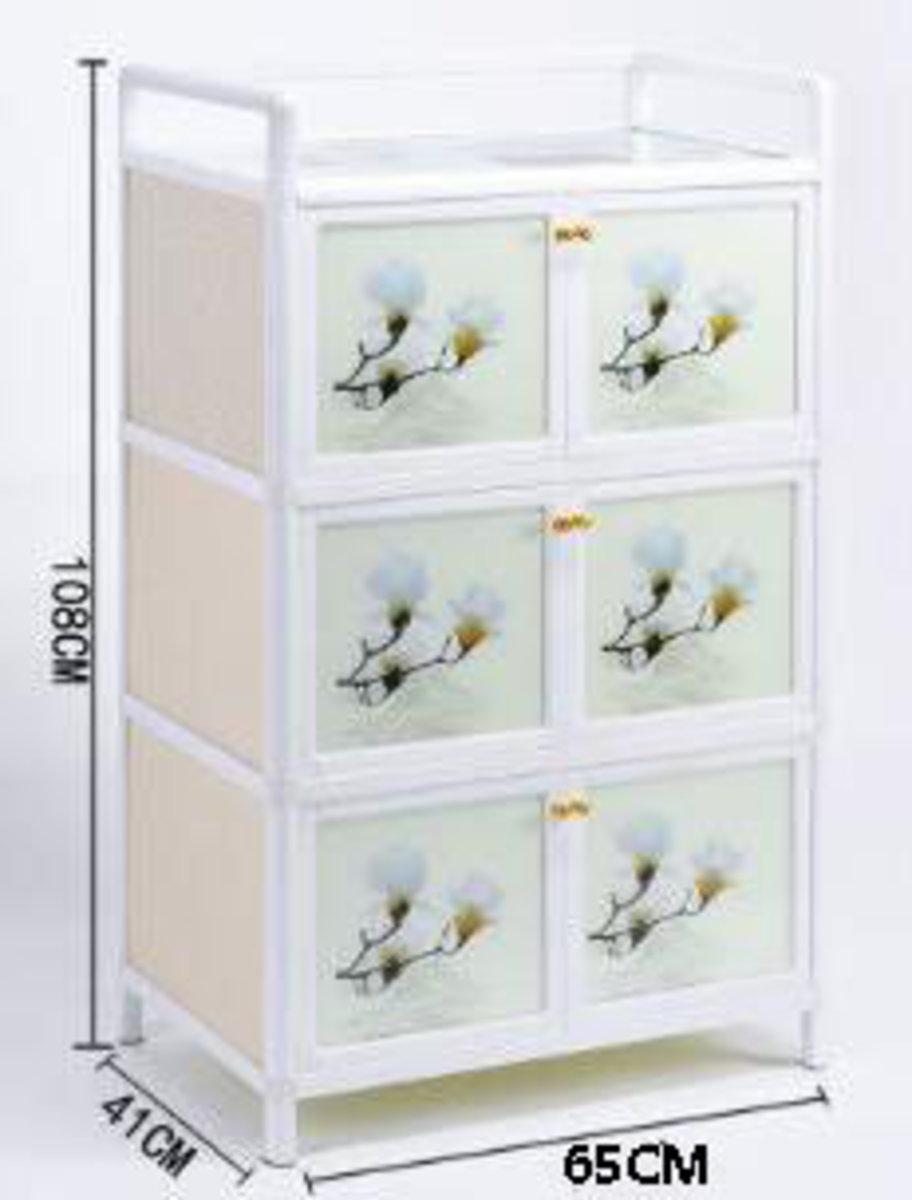 簡易碗櫃鋁合金小櫃子:經濟款3層六門65cm面寬【蘭花】