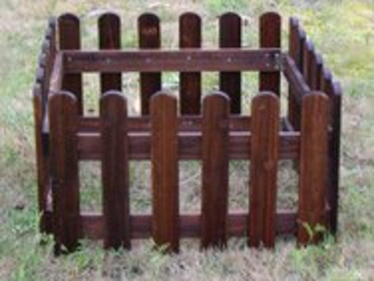 碳化防腐木柵欄籬笆(碳化色圓頭30cm高*長180cm)