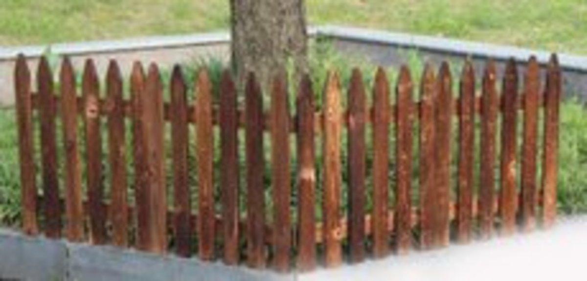 碳化防腐木柵欄籬笆(碳化色尖頭43cm高*長144cm)