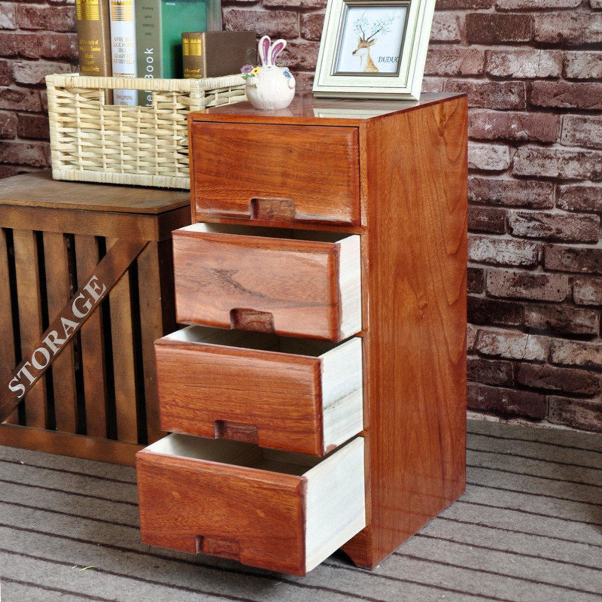 實木咖啡色多層斗櫃 A:4層