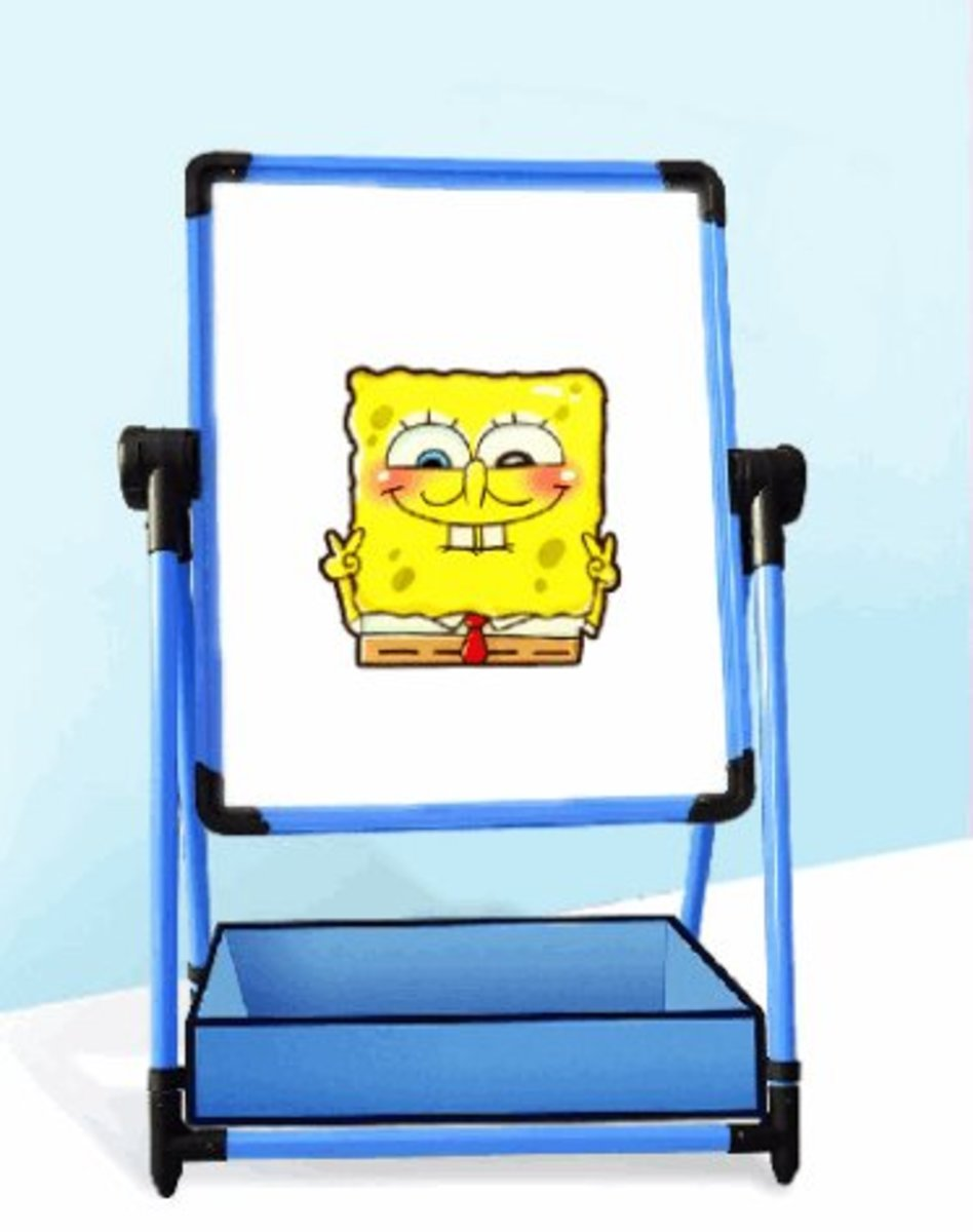 兒童升降畫板小黑板35*50cm(藍色-小)#855_00018A(小號沒有布兜)