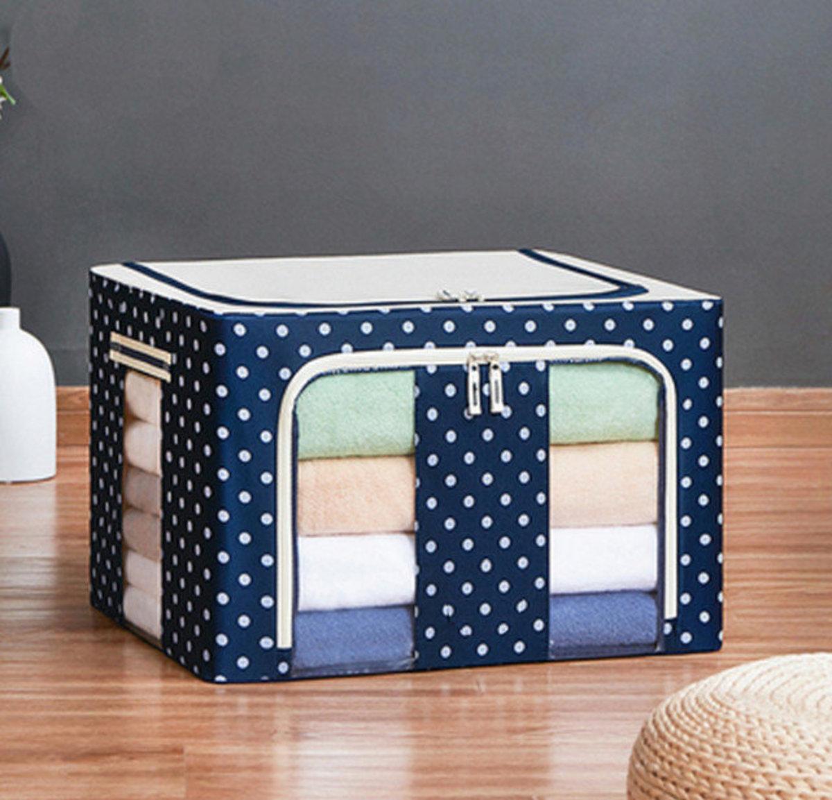 布藝棉麻圖案衣物收納箱,玩具收納箱(60*42*40cm 藏青色)#906_00001